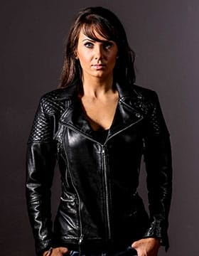 Quilted leather jacket womens