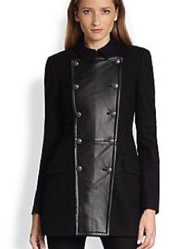 Womens leather pea coat