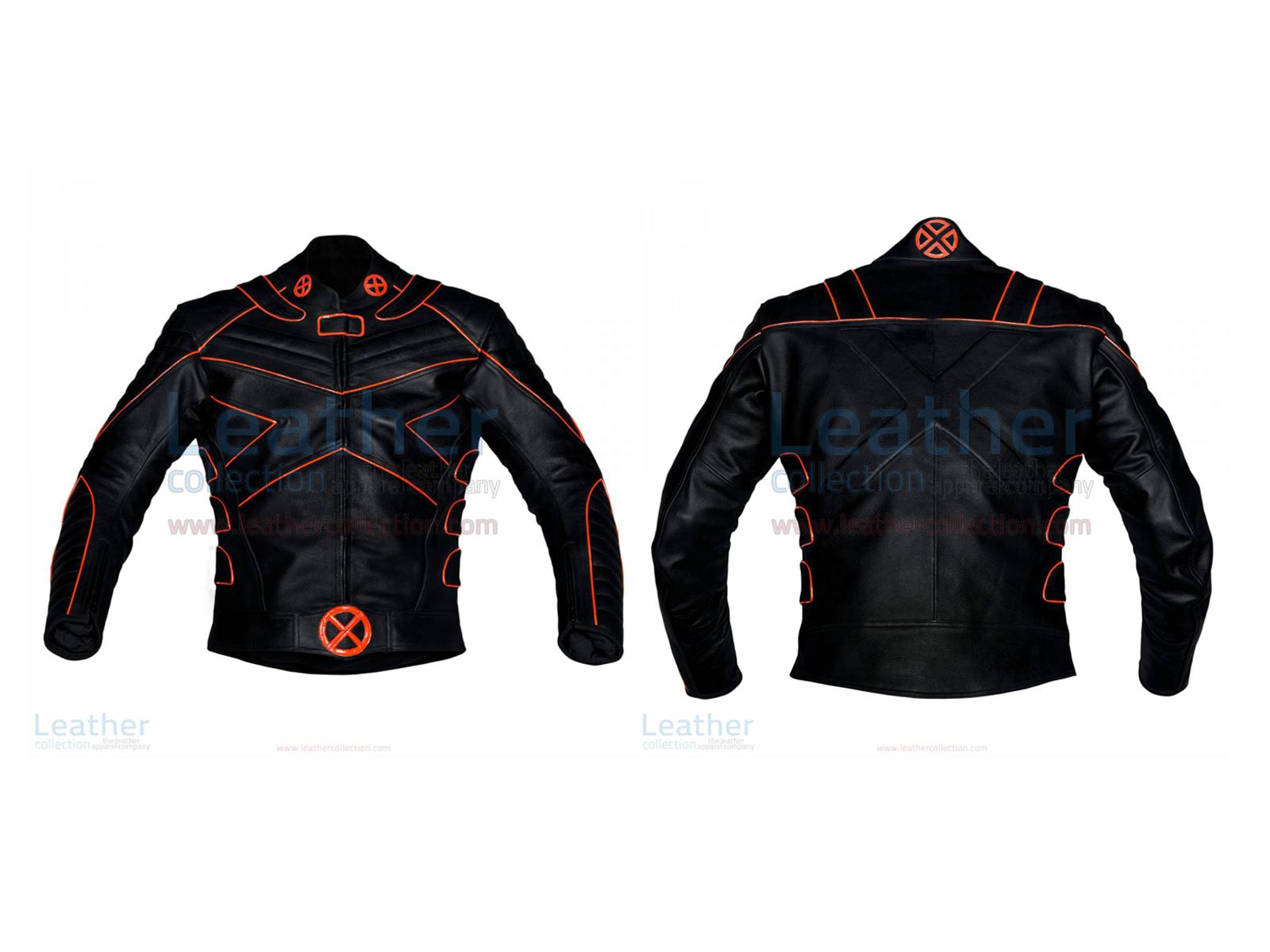 X-MEN MOTORBIKE LEATHER MENS RIDING JACKET WITH ORANGE PIPING