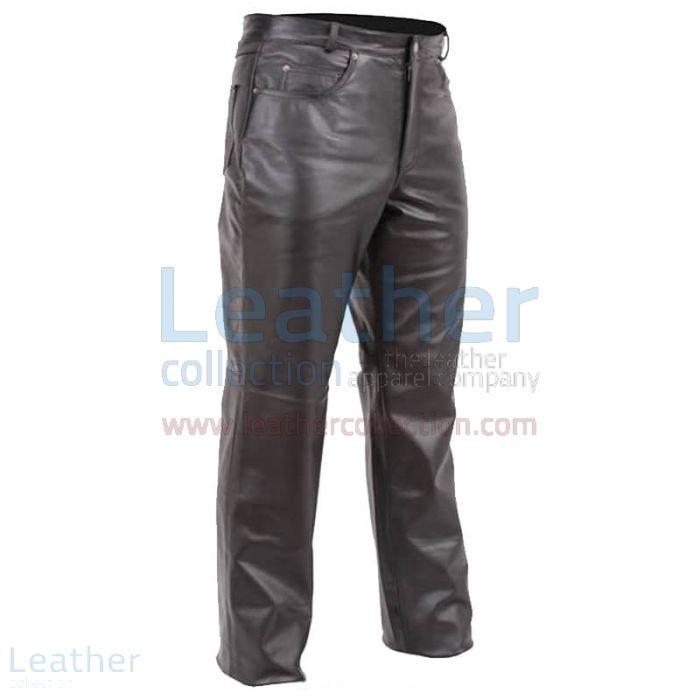 5 Poche Pantalon cuir Homme Style Jean Moto Vue de Face