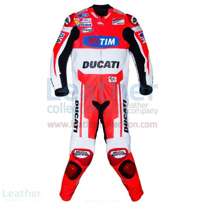 Andrea Dovizioso Ducati MotoGP 2015 Leathers front view