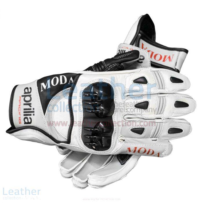 Aprilia Short Leather Riding Gloves upper view