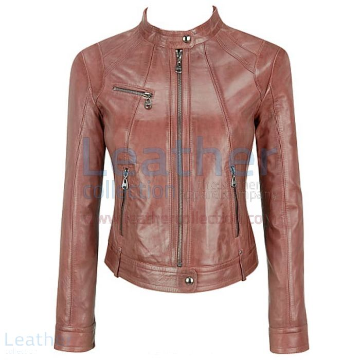 Banded Collar Washed Leather Scuba Jacket Brown front view
