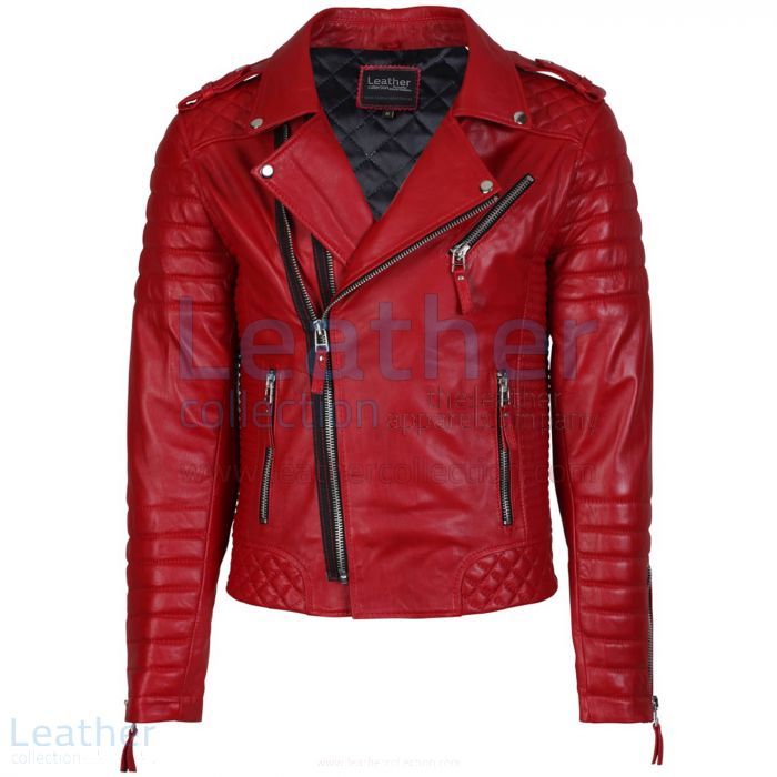 Biker Men Red Quilted Leather Jacket front