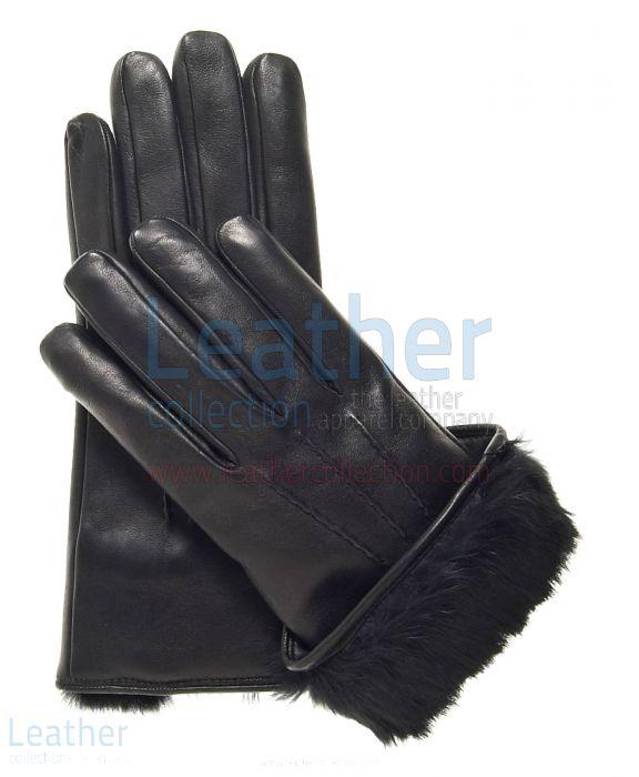 Black Fur Manschette Lederhandschuhe