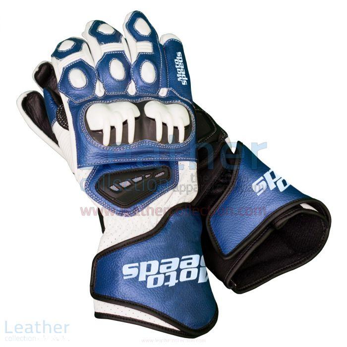 Blue & White Leather Biker Gloves upper view