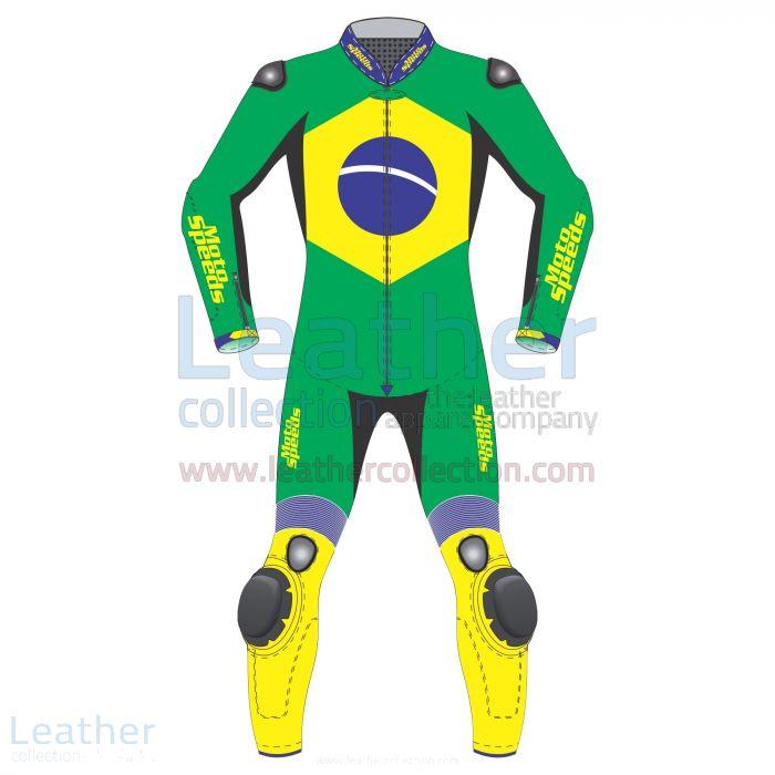 Brazil Drapeau Costume Moto Vue de Face
