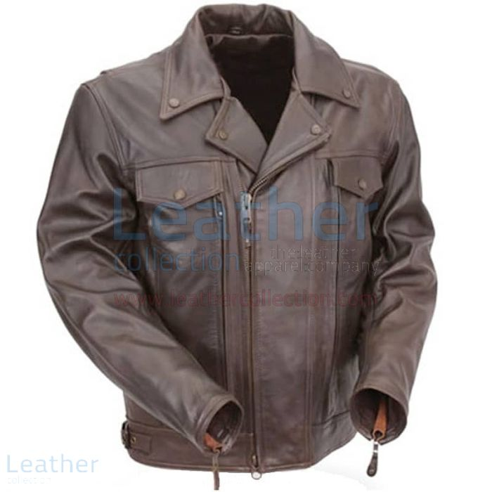 Brown Leather Pistol Pete Motorcycle Jacket with Zipper Vents front view