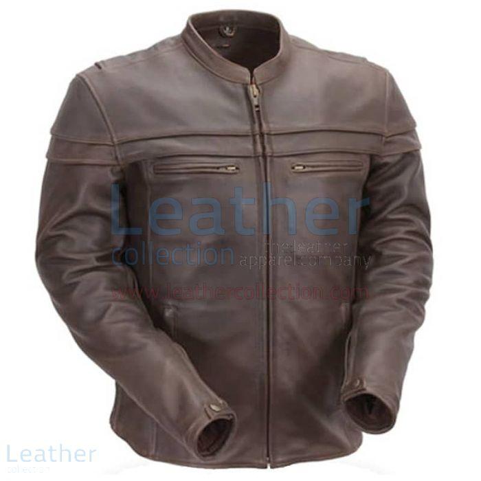 Brown Mandarin Collar Biker Leather Jacket front view