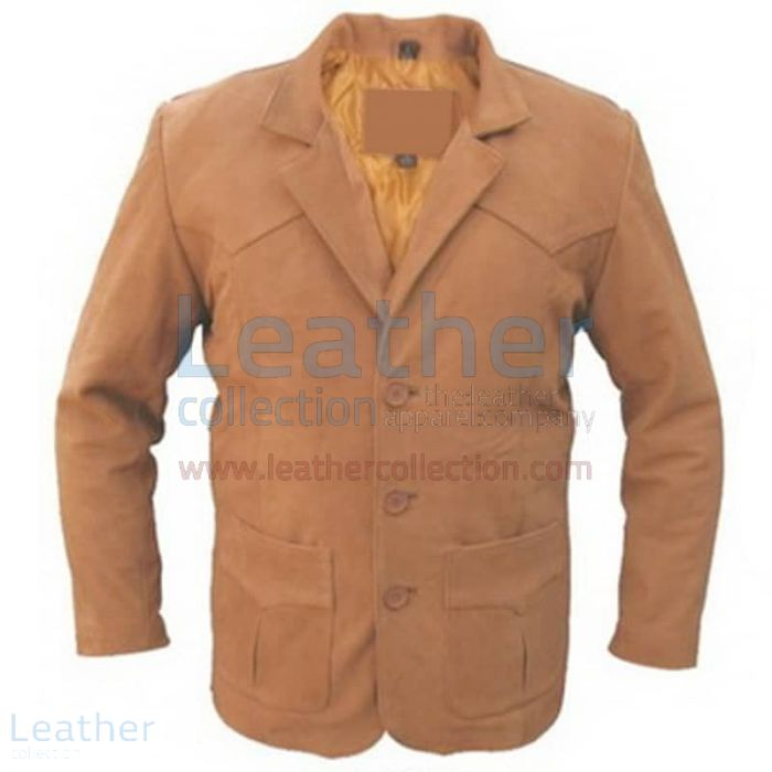Brown Men Leather Blazer front view