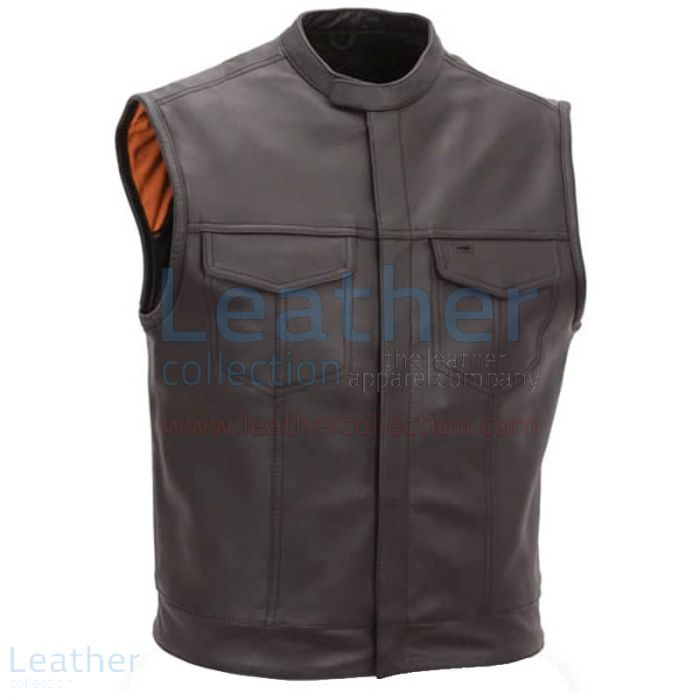 Brown Motorcycle Vest with Scooter Collar front view