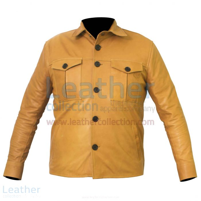 Buttoned Front Lamb Skin Shirt Style Jacket front view