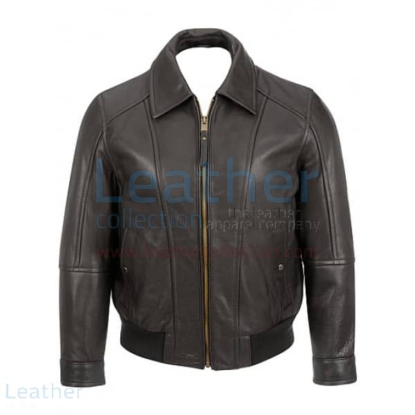 Classic Black Bomber Jacket front view