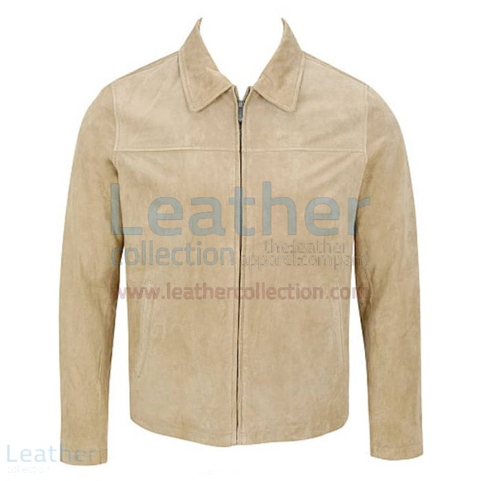 Classic Mens Suede Jacket With Shirt Collar front view