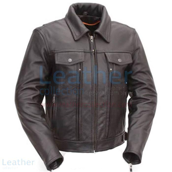 Cruiser Motorrad Jacke mit Dual Utility Taschen front