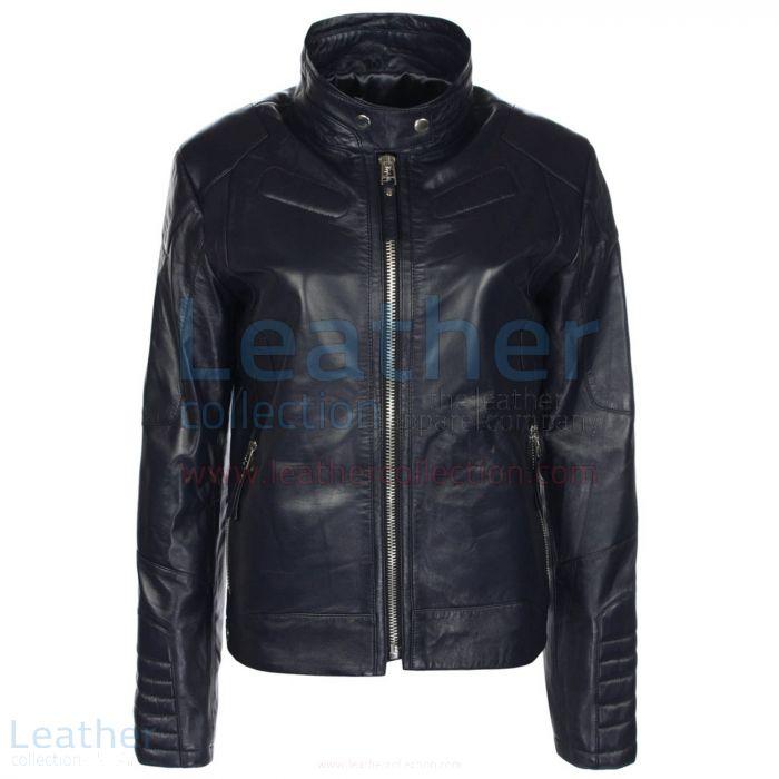 Deuce Classic Navy Biker Leather Jacket front view