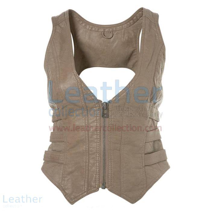 Fashion Short Leather Vest front view