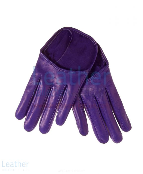 Mode Kurz Lila Lederhandschuhe