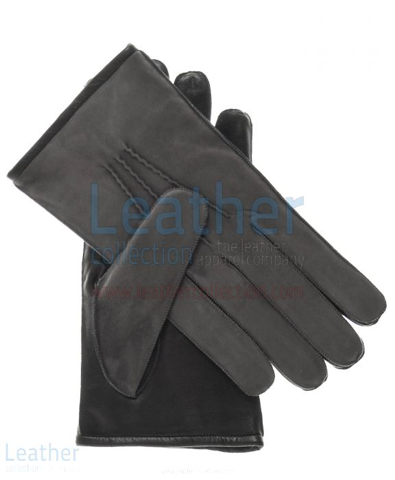 Grey Suede and Lamb Skin Gloves