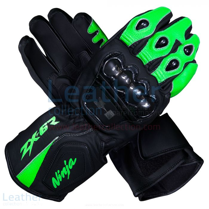 Kawasaki Ninja ZX-6R Leather Motorcycle Gloves upper view