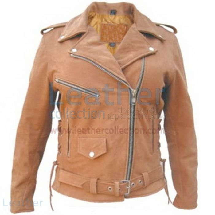 Ladies Brown Motorcycle Jacket front view