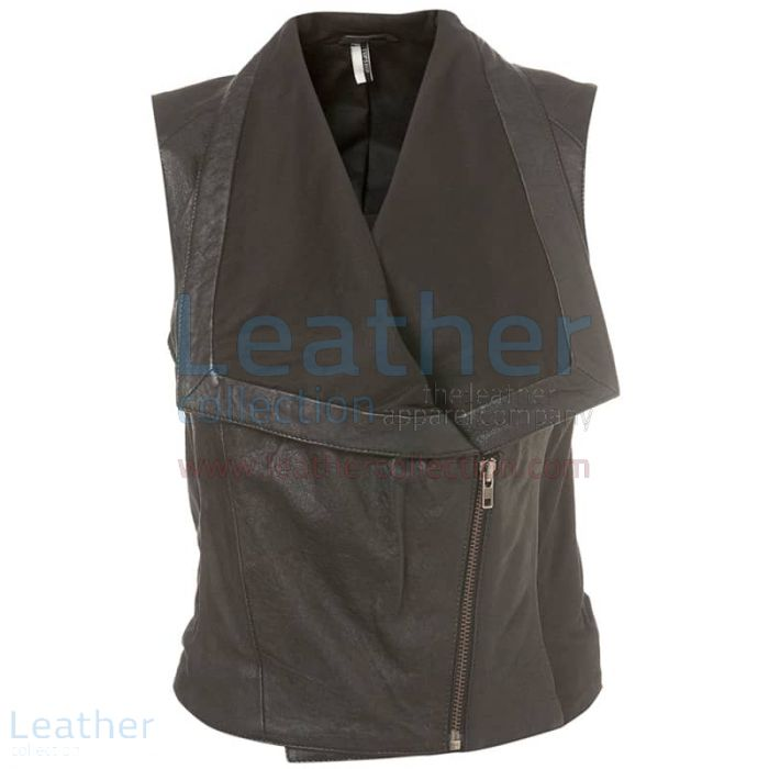 Womens Fashion Leather Vest front view