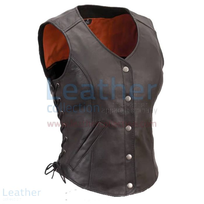 Womens Leather Motorcycle Vest with Side Laces front view