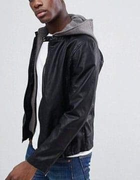 Jaquetas Para Homens - Encapuzados jaqueta de couro grandes promocões em Leather Collection