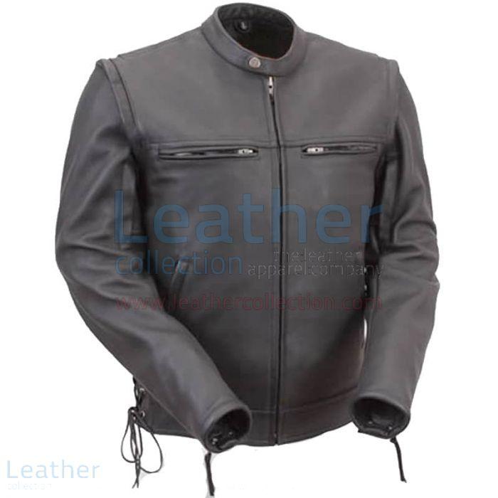 Veste de Moto en Cuir Noir Avec Manches Zippées Vue de Face