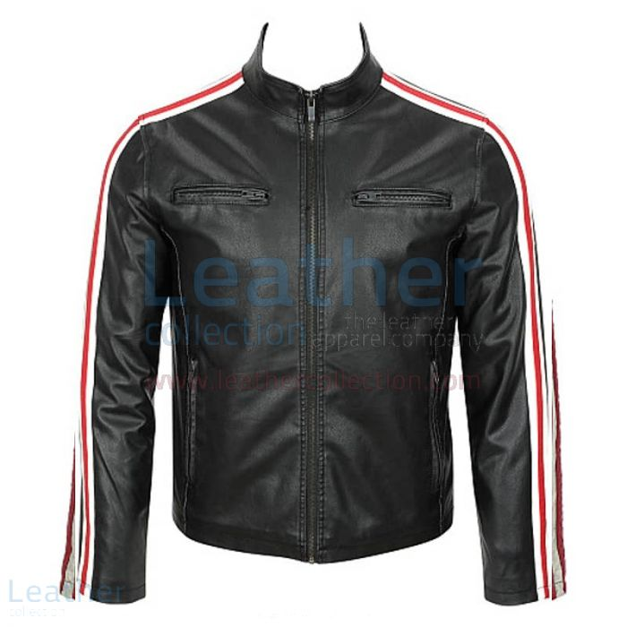 Fashion Leather Motorcycle Jacket USA front view