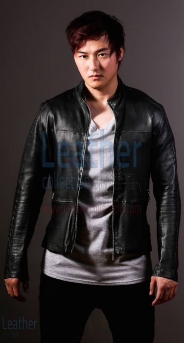 Men Leather Fashion Steel Jacket front view