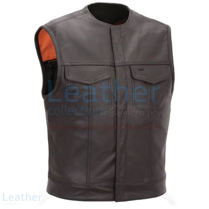 Men Leather Vest with Concealed Snap Front Closure front view