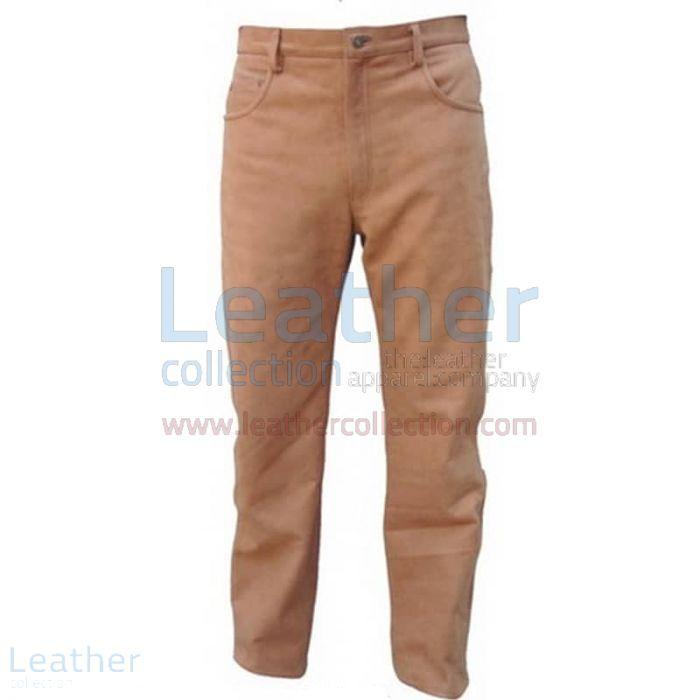 Men Leather Five Pocket Pants front view