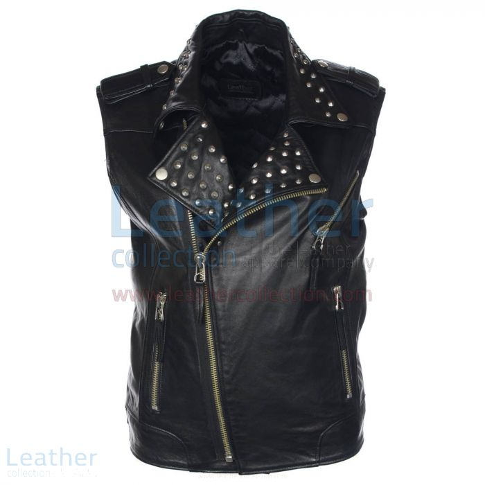 Men Studded Collar Biker Leather Vest Front view