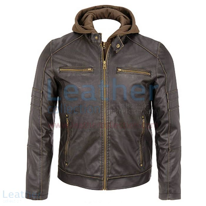 Mens Leather Hooded Jacket front view