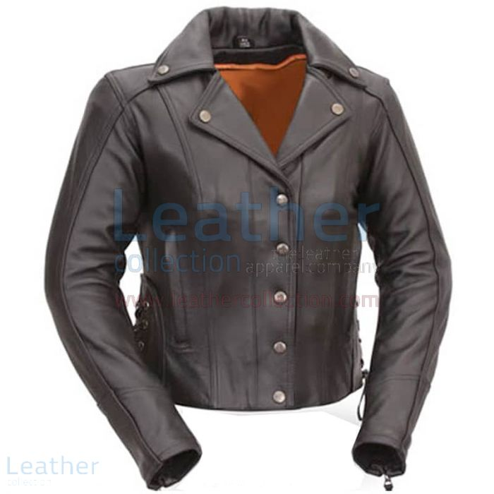 Modern Motorcycle Jacket with Snap Front Front view
