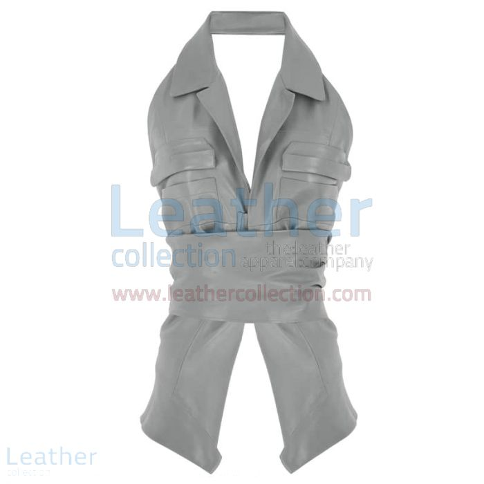 Naked Belted Fashion Leather Vest front view