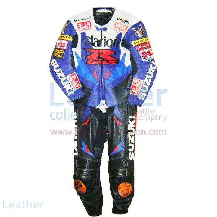Niall Mackenzie Suzuki 2001 BSB Leather Suit front view