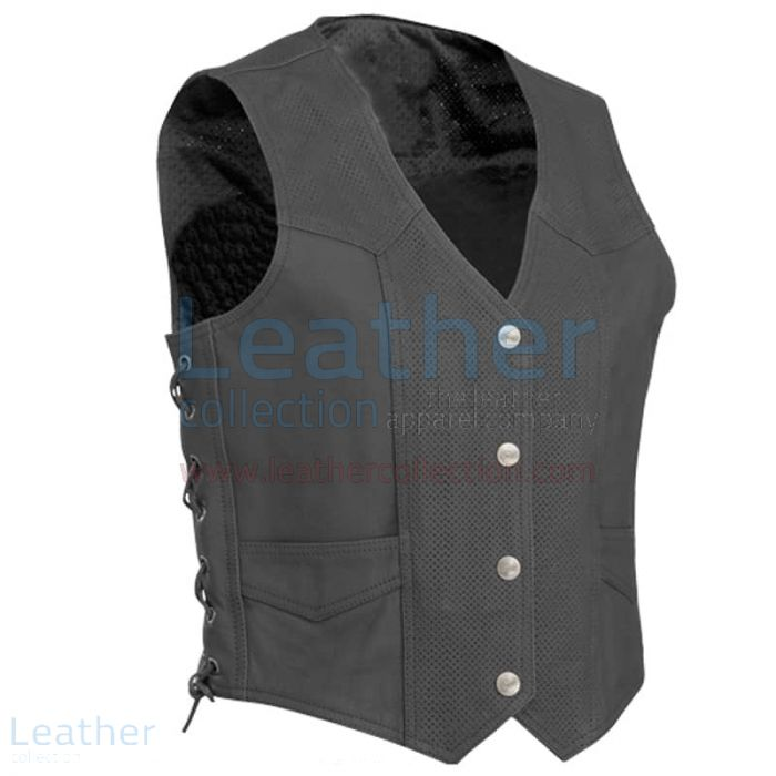 Perforated Motorcycle Leather Vest front view