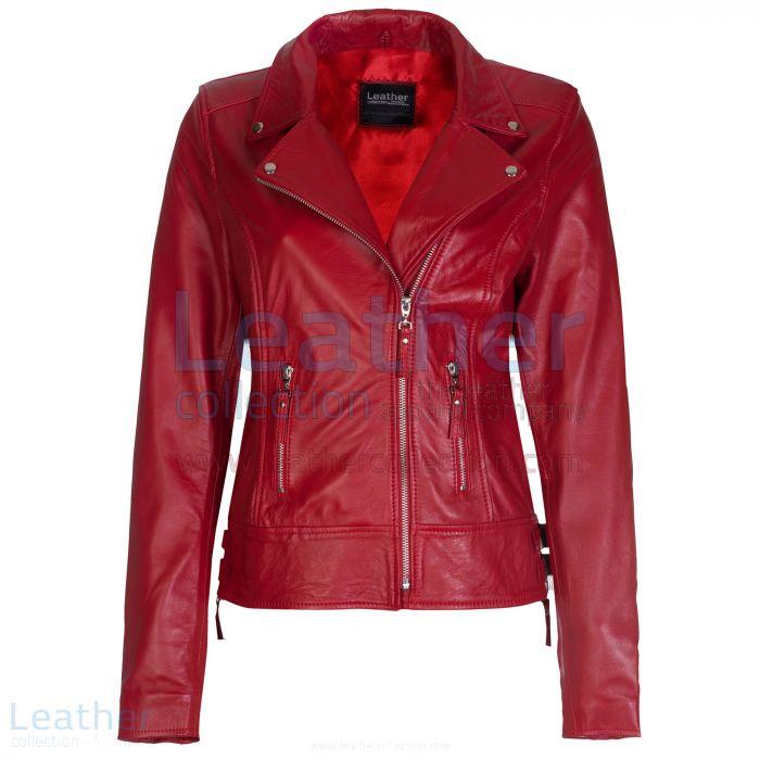 Rot Vintage Biker Lederjacke front