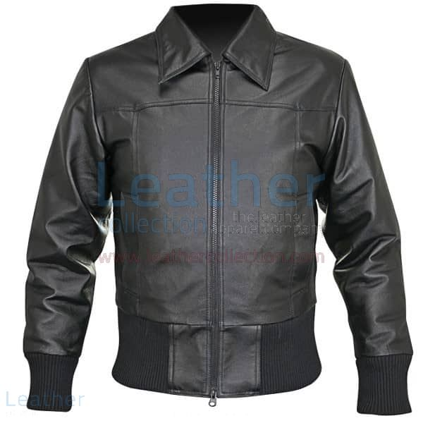 Rib Knit Waist Length Jacket of Leather front view
