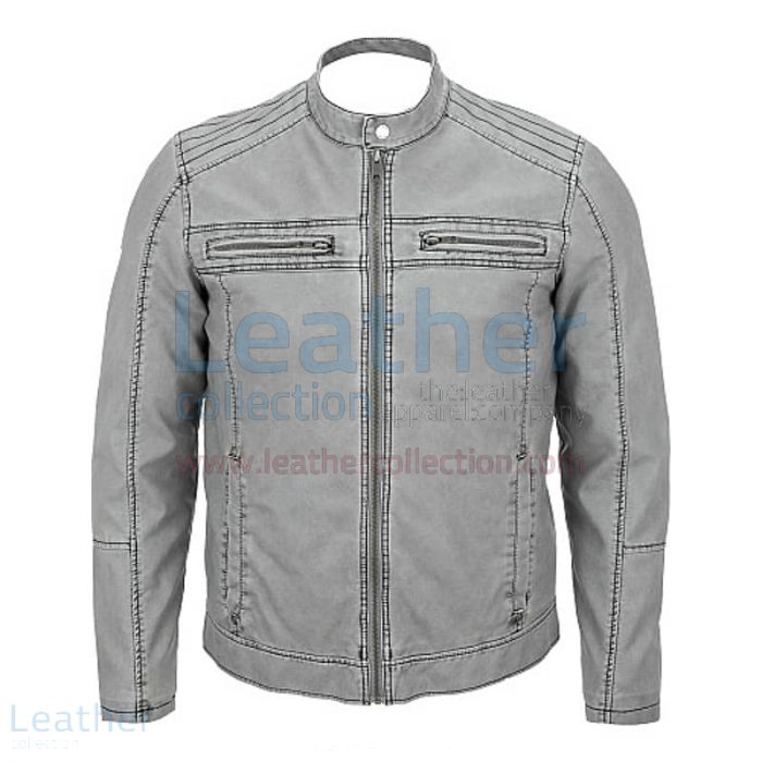 Semi Moto Gray Leather Jacket front view