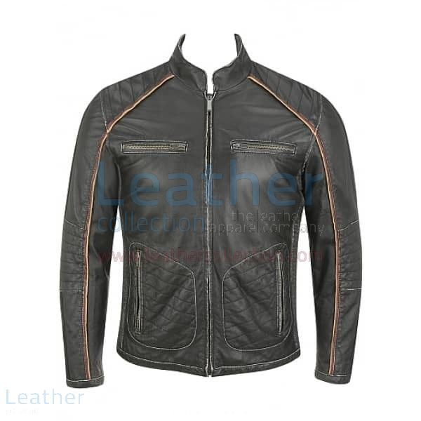 Semi Motorbike Casual Leather Piping Jacket front view