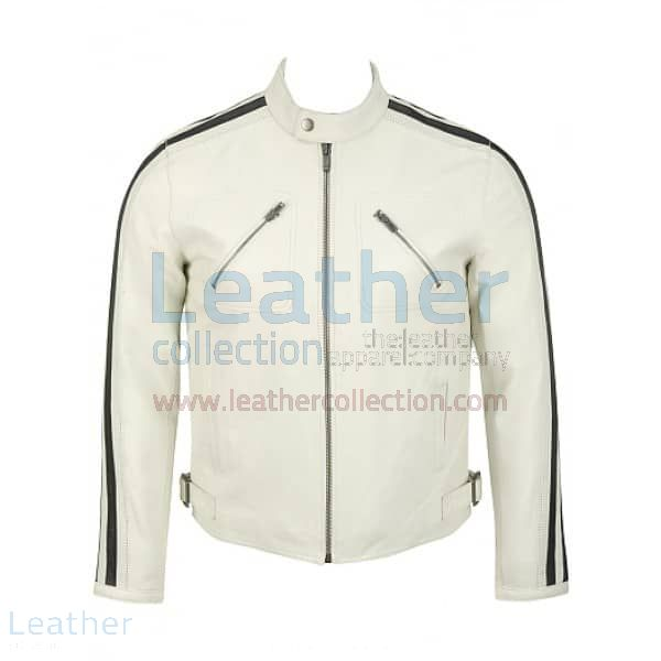 Semi Motorbike White Leather Jacket Mens front view