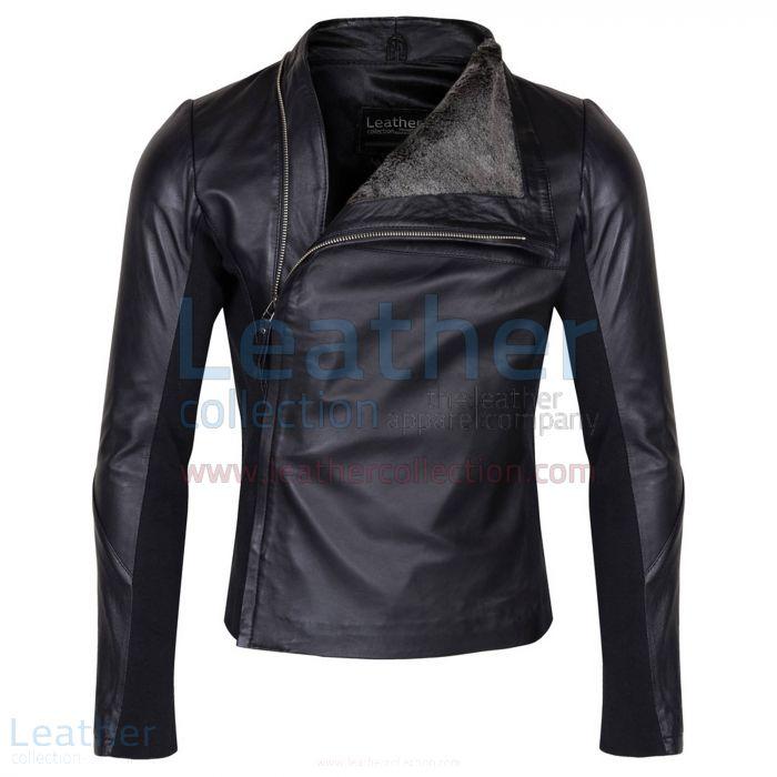 Slim & Smart Leder Jacke mit Pelzfutter front