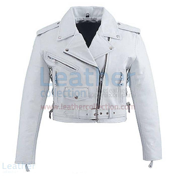 Neige Brando Style Veste en Cuir Blanc Vue de Face