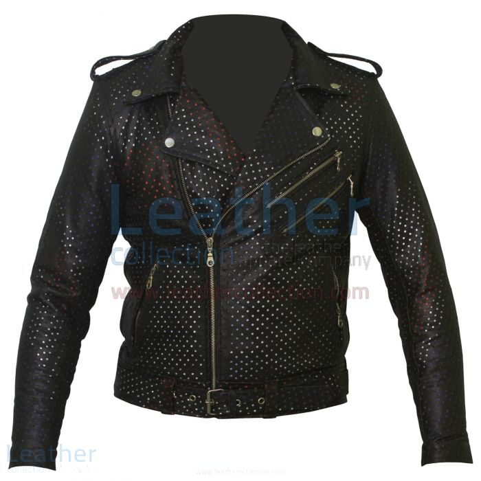 Union Jack Perforiert Mode Lederjacke front
