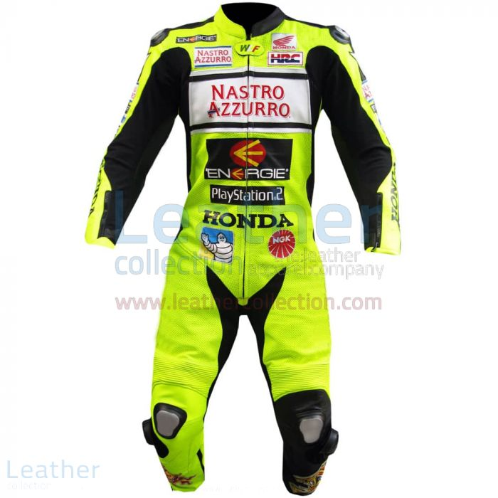Valentino Rossi Nastro Azzurro Honda MotoGP Leathers front view