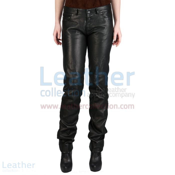 Jeans Style Wide Calves Leather Pants Front View