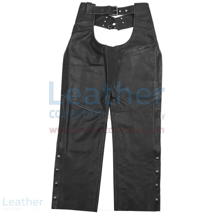 Women Biker Leather Chaps front view